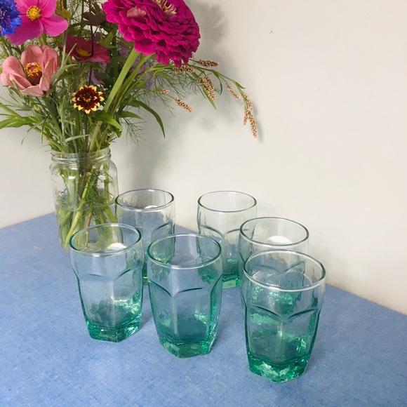 Vintage green petite glassware